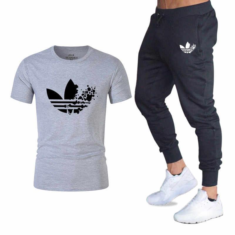 9479006f Бесплатная доставка Новый 2019 бренд спортивный костюм модная футболка  мужские зимние штаны для велоспорта из двух