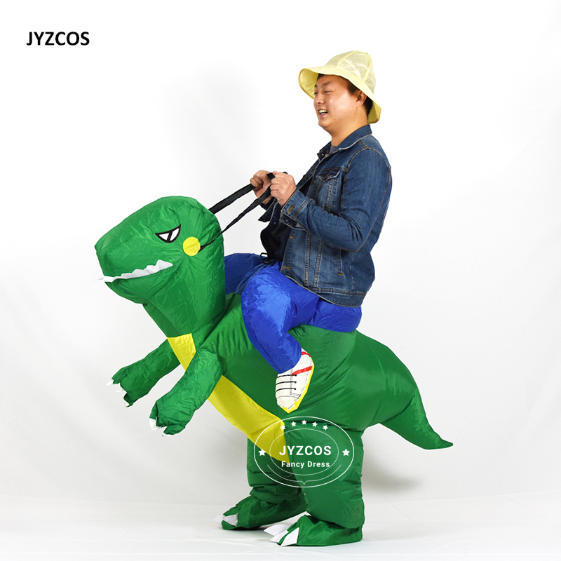 JYZCOS Man Riding inflatable T-rex Dinasour Costume Fan Operated Costumes Halloween Party Fancy Dress Animal Costume for Adults (3)