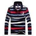 Высокое качество известная марка Акула 100 хлопок Длинные рукава осень ПОЛО мужчины рубашка Повседневная Slim Fit camisa Акула тянуть homme марка