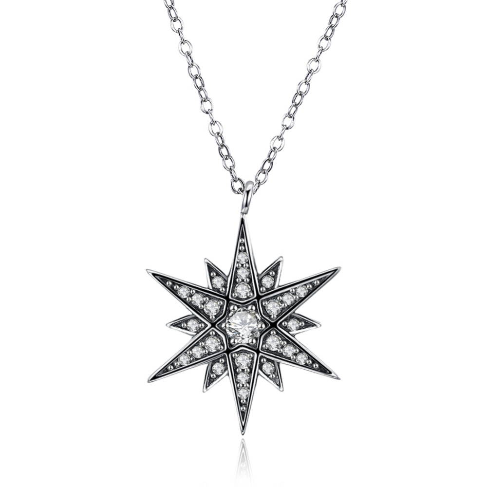 100% Pure 925 sterling silver jewelry Vintage cute full crystal stone flower pendant necklace for women fine wedding jewelry