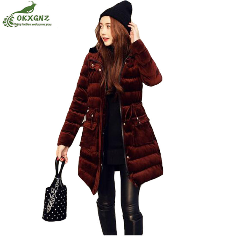 Winter women jacket coat fashion cotton thickening down jacket cotton Outerwear women Medium length warm coat clothing OKXGNZ women winter down jacket coat wadded jacket middle age women thickening outerwear female down coat vestidos
