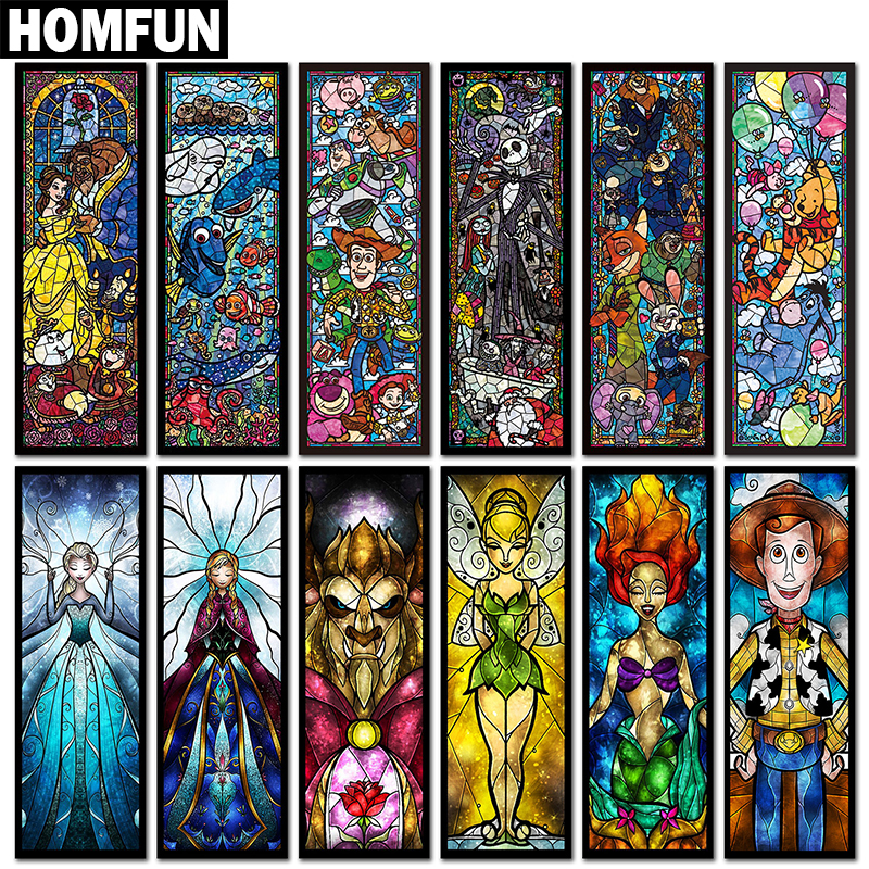 HOMFUN Full Square/Round Drill 5D DIY Diamond Painting Cartoon character 3D Embroidery Cross Stitch Mosaic Home Decor Gift