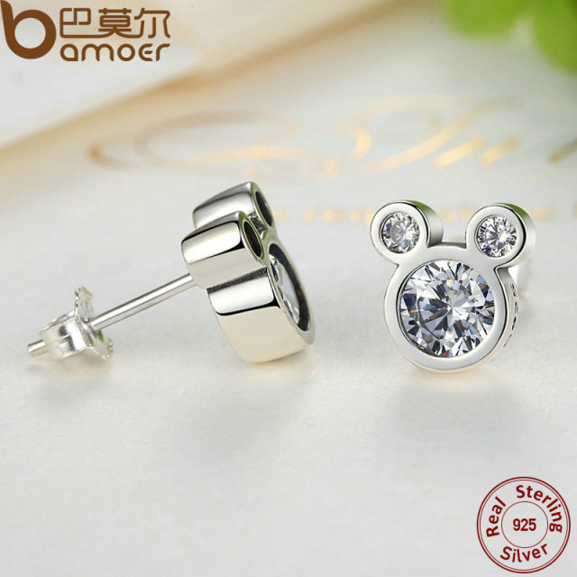 Sterling Silver Dazzling Miky Mouse Earrings