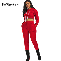 BHflutter Winter Jumpsuits Women 2 Pieces Sets Long Pants Sexy Jumpsuit Rompers New Style 2017 Woman Velour Casual Overalls