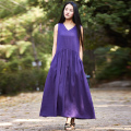 Sleeveless V-neck Solid Purple Linen Women Dress White Black Loose Casual Summer Midi long Dress Robe Femme Purple Vestidos B096