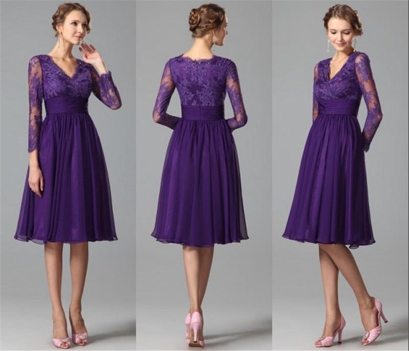 Long Sleeves Purple Bridesmaids Dresses 2015 A Line V Neck ...