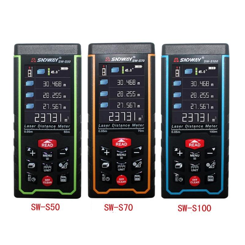 SNDWAY Digital Laser rangefinder 100M 70M 50M Laser distance meter tape Laser rangefinder Range finder Color display SW-S100/S70 цена