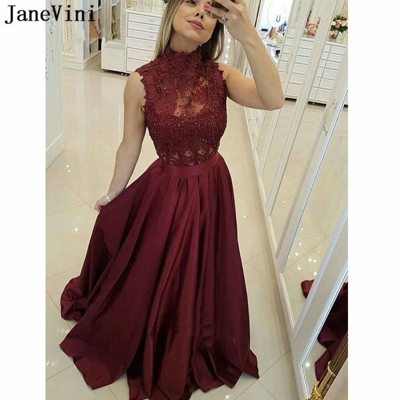 JaneVini Elegant Burgundy   Prom     Dresses   Long Plus Size 2019 High Neck Sleeveless Lace Beaded Satin A Line Formal   Prom     Dress   Woman