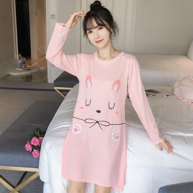 ec7b558e12 100% Cotton Nightgown for Women 2018 Autumn Long Sleeve Night Dress 90s  Girls Cute Cartoon