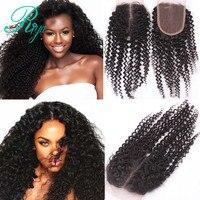 Riya Saç 4*4 Dantel Kapatma Moğol Derin Dalga İnsan Saç 100% Remy Orta Kısım 130% Yoğunluk Doğal Renk 10-22 inç