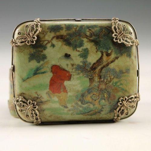 Christmas gift Oriental Vintage Handwork Silver Porcelain Dragon Child Jewel Box 00000