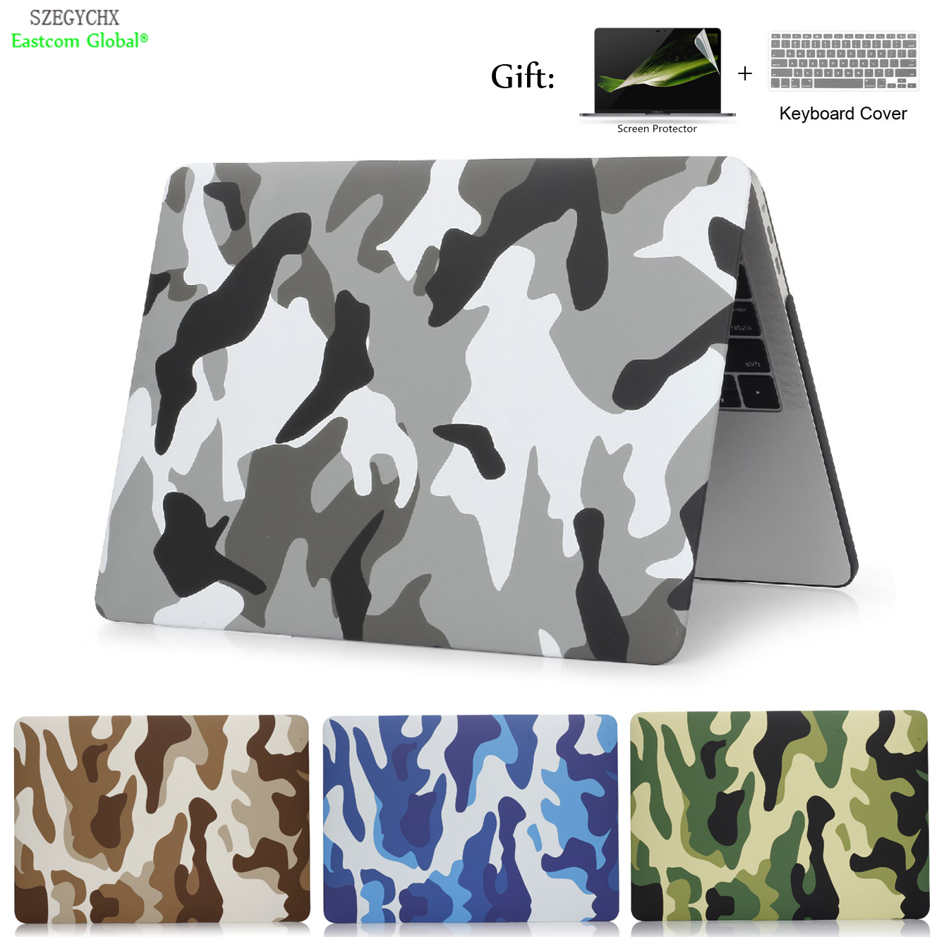 Camouflage shell taske til MacBook Air 13 11 Pro Retina 12 13,3 15 touch bar For Macbook New Air 13 A1932 2018 sag