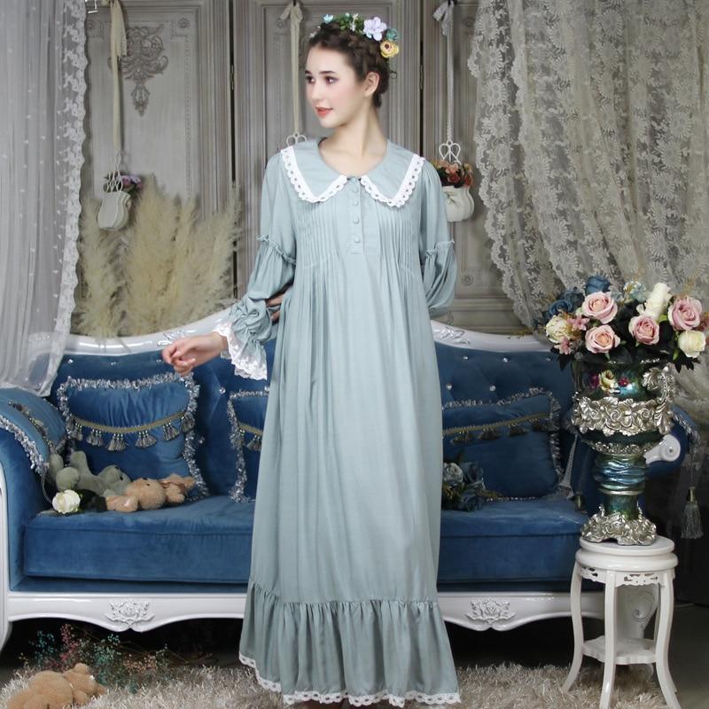 2018 Hot Cotton Arab 6 Colors Court Loose Nightgown Women Long Nightdress Sleepwear Ladies Princess Ankle Length Nightwear Dress
