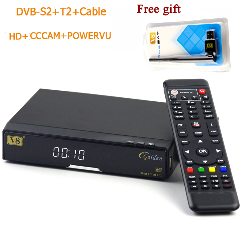 Original v8 golden+powervu IPTV box v8 golden dvb t2/s2/c upgraded V8 Pro Combo with 1 free usb wifi Freesat Satellite Receiver 2 4ghz wireless optical mouse w usb receiver blue black