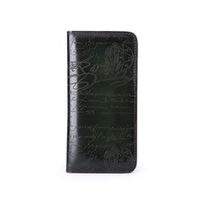 TERSE_Customize logo Italian calf leather long business wallet handmade genuine leather long purse with phone pocket engraving