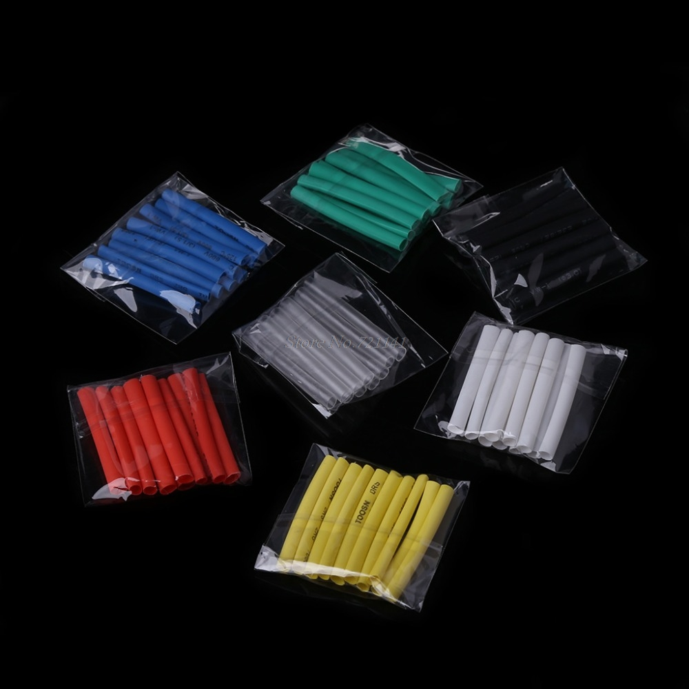 70 Pcs 7 Colors 3.0mm Heat Shrink Tube Retardant Polyolefins 2:1 Tubing Wrap Sleeve Kit Insulation Materials