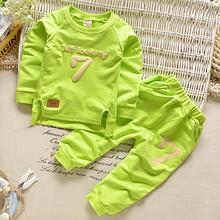 New Casual Sport Letters Tracksuit Infant Toddler Girls Clothes Top 2pc T-shirt + Pant Kids Winter Warm Baby Boys Clothing set