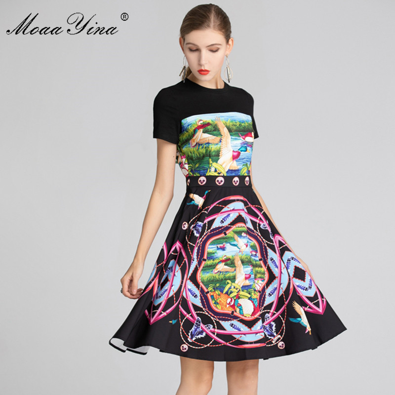 MoaaYina Fashion Designer Runway dress Summer Women s Dress Short sleeve Lake scenery Print vacation Elegant