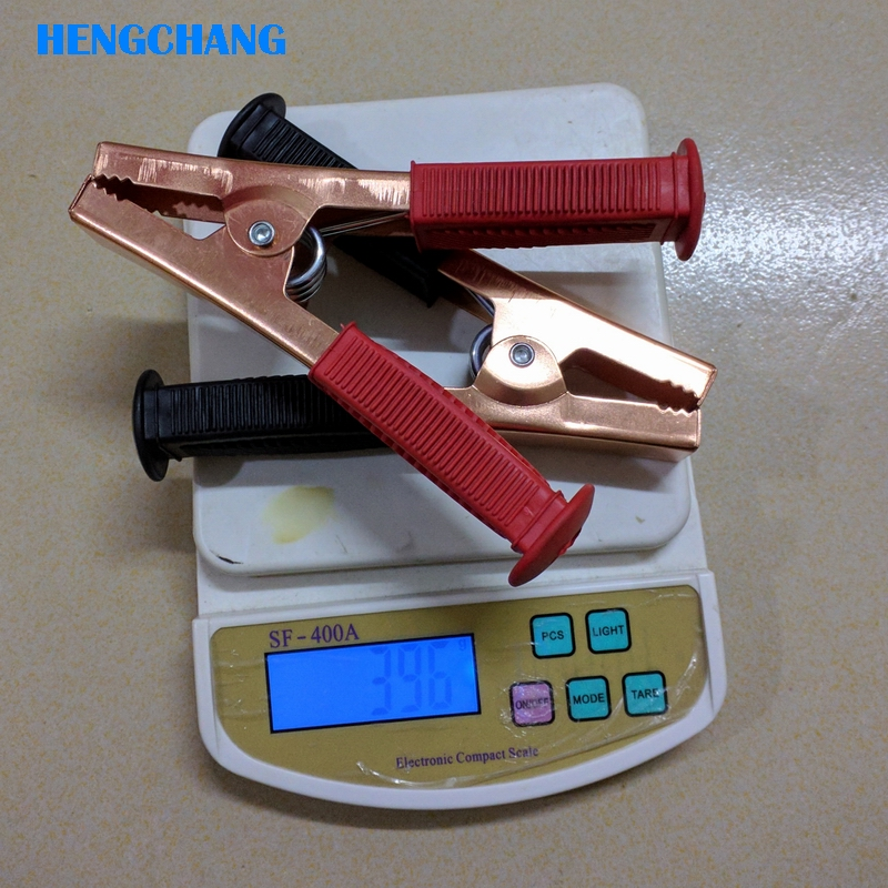 2Pcs 165mm 500A large current Alligator Clip Battery Clamps Crocodile Clip 500A Red Black Iron plating