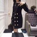 Bálsamo marca 2016 de gama alta de otoño invierno nuevo abrigo de invierno de doble botonadura vestido LARGO V cuello de terciopelo XL negro azul marino OL estilo
