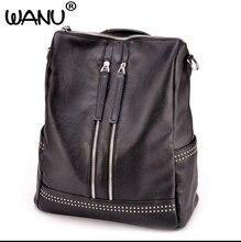 Wanu 2017 брендовая мягкая кожа Для женщин рюкзак Повседневное Школьные сумки для подростков Обувь для девочек высокое качество женский путешествия Back Pack
