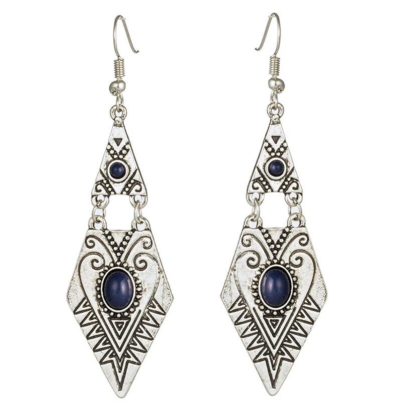 Vintage triangle geometric earrings for women Indian gold silver color acrylic metal pendant butterfly tassel earring jewelry
