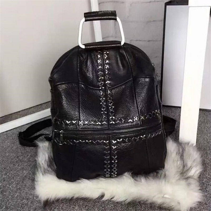 Mode Han Style haute qualité personnalité Rivet étudiant Double sacs à bandoulière Punk multifonction noir voyage femmes sacs à dos