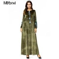 New Large Size 4XL Muslim Dress Solid Velvet Army Green Casual Abaya Arab Garment Dubai Kaftan Muslim Women Long Maxi Dresses