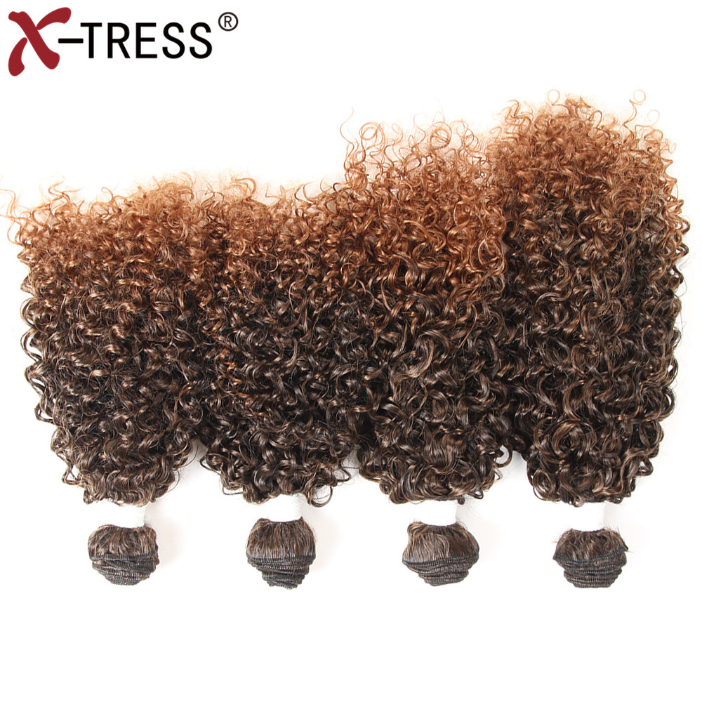 X-TRESS Synthetic Hair Weaves Heat Resistant Weaving 16161616Kinky Curly Hair Bundles Extension High Temperature 4pcs/lot