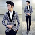 2016 Autumn Blazers Mens 5XL Plus Size Dress Jackets For Mens Suits Prom Flower Printing Casual Blazers Cappotto Manteau Homme
