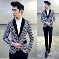 2016 Outono Blazers Mens 5XL Plus Size Jaquetas Para Homens Ternos de Vestido de Baile Flor Impressão Casuais Blazers Cappotto Manteau Homme
