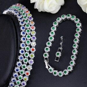 Image 2 - CWWZircons 3 個 Cz グリーンクリスタルブレスレットのネックレスとイヤリングセット高級女性ウェディングアクセサリー花嫁ジュエリーセット T030