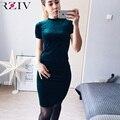 Rziv 2016 winter dress mulheres vestidos de veludo moda de alta qualidade das senhoras vestidos