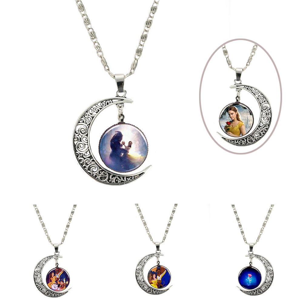 2018 New Movie Beauty and the Beast Belle Metal Pendant necklace chain glass Figure Model cosplay accessary toys