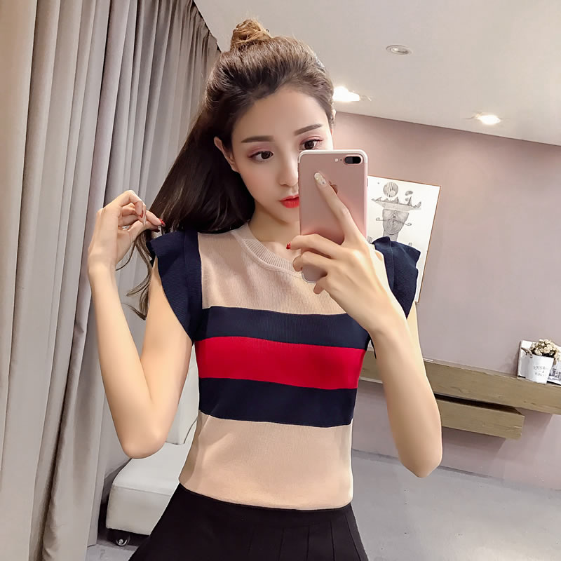 Girls O-Neck Ruffled Knitting Stripe Camis   Tops   Sleeveless Tees Female Knitted Stretchy Camisoles   Tanks     Tops   For Women