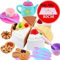 Los niños de juguete jugar a las casitas cocina tetera conjunto mini juguetes diy torta de cumpleaños de té de juguetes para las niñas con estera del juego