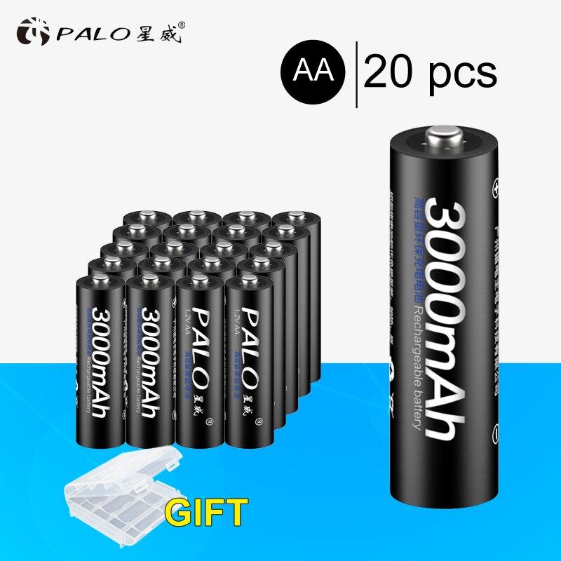 PALO 20 pièces NI-MH 1.2 V 3000 mAh AA Rechargeable Batteries AA Batterie batterie Rechargeable Pour Les jouets caméras Calaculators Horloges