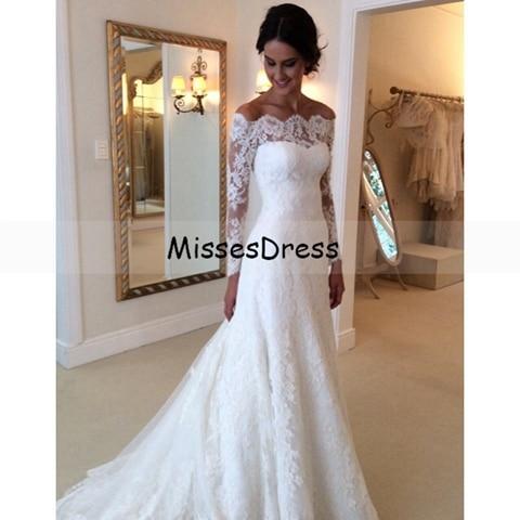 Aliexpress.com : Buy Long Sleeve Wedding Dress 2017 Mermaid Boat ...