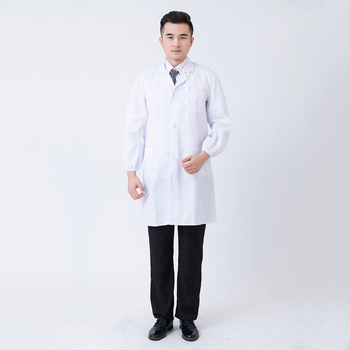 Unisex White Lab Coat Long Sleeve Pockets Uniform Work Wear Doctor Clothing Hospital Technician Nurse Gown