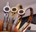 Cáscara de moda real amarillo/rosa/plata chapado en oro número romano brazaletes hombre mujer pulsera de moda de joyería de acero titanium