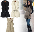 New 2014 Fashion Womens Ladies Hooded Faux Lamb Fur  winter Vest sleeveless Jacket Coat With Hat 5colors free shipping