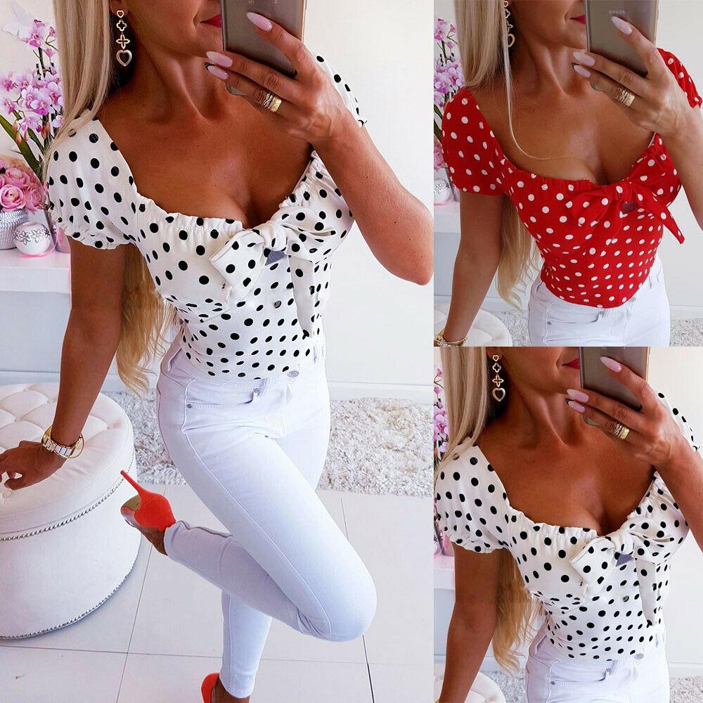 Hot 2019 Boho Women Polka Dot Print Short Sleeve T Shirt Bow Bodycon Ruffles Low Cut V Neck Fashion Ladies Summer Casual Tops in T Shirts from Women 39 s Clothing