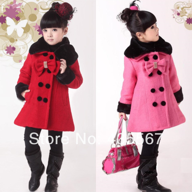 d90bdbb39 2015 Fashion girls wool coat Outerwear pink wool jacket girl Fur ...