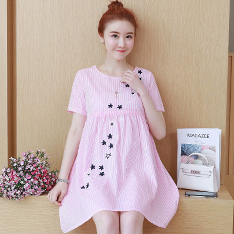 Summer Fashion Pregnant Woman Dress Breastfeeding Maternity Clothes Embroidery Loose Short Sleeve Pregnant Women Skirt