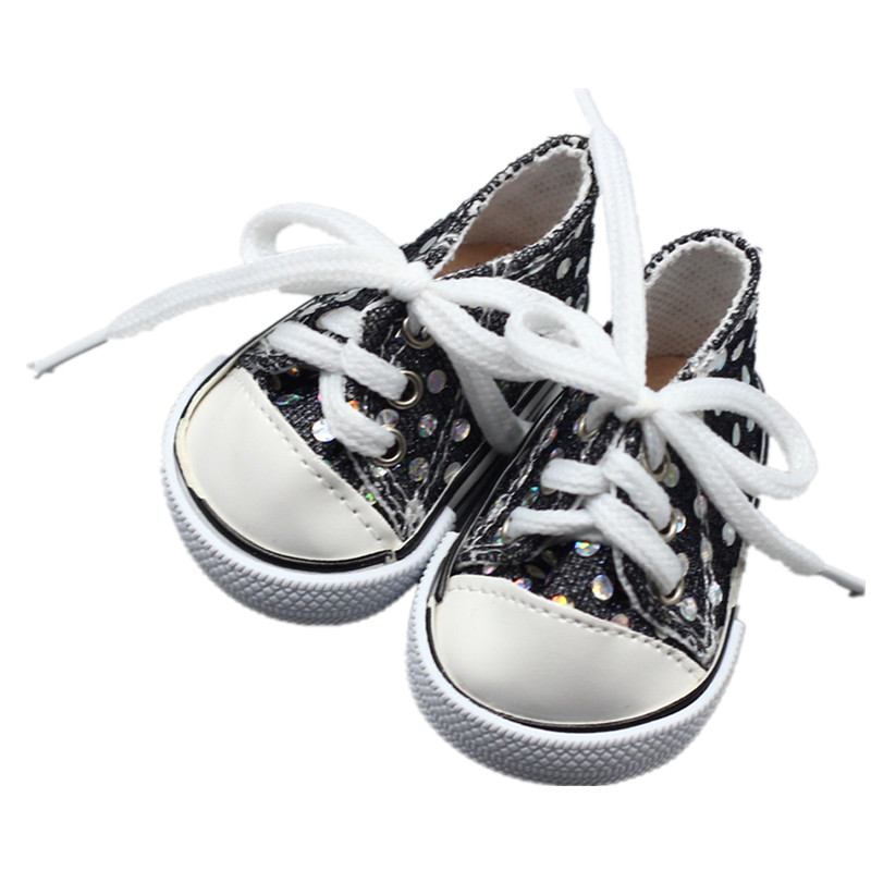 Doll Accessories Fit 43cm Doll Baby Born Zapf Doll Shoes Black Sequin Belts Sports Shoes For 46CM American Girl Doll Best Gift rose christmas gift 18 inch american girl doll swim clothes dress also fit for 43cm baby born zapf dolls