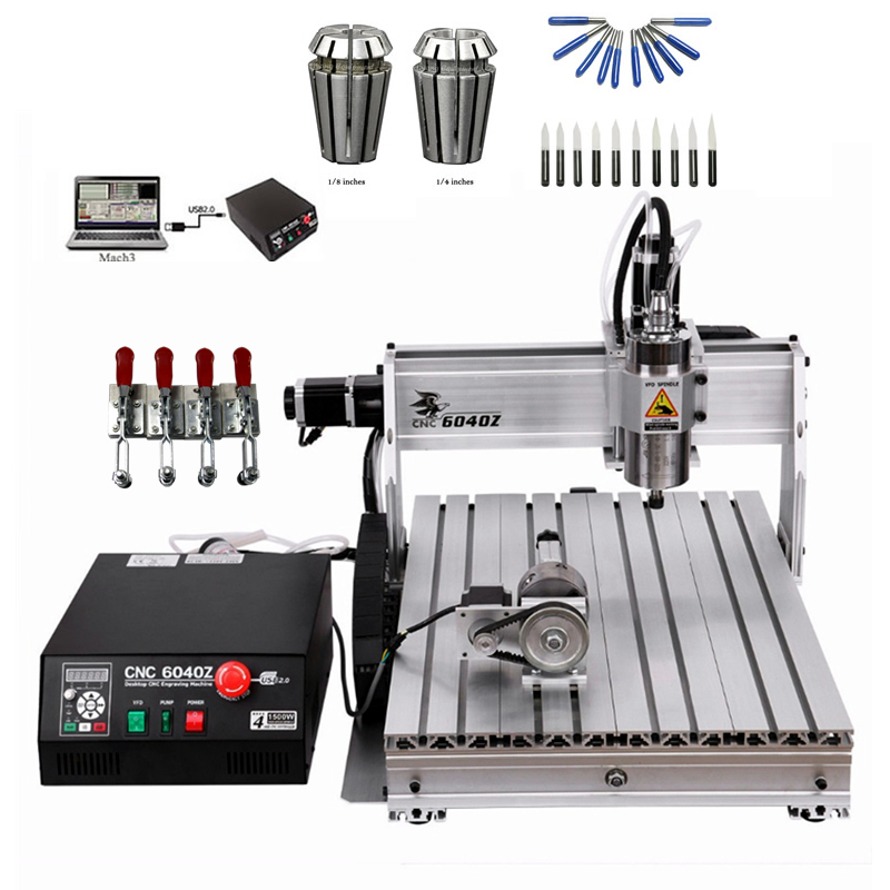 USB CNC Router 6040 USB 1500W 4 Axis CNC Engraving Woodworking Machinery Mini Lathe with Tool Bits and ER11 Collect Chuck