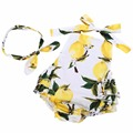 2016 New Cotton Square Collar Lemon Newborn Baby Girl Clothes Headband Set,Floral Sleeveless Baby Neonato Summer Romper #7E2042