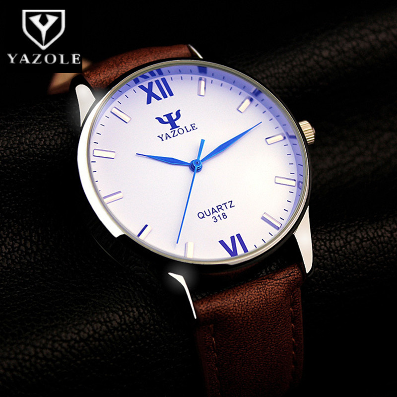 YAZOLE Blue Glass Watch Men Watch Fashion Men's Watch Waterproof Leather Mens Watches Clock Reloj Hombre Relogio Masculino