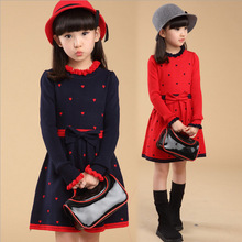 2015 Selling new girls dress, children autumn and winter long-sleeved round neck knit dot dress warm, red, rosy red, Navy blue