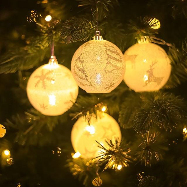Новый Рождественский СВЕТОДИОДНЫЕ светлые шарики Снежинка лося звезда белый блестящий печатных мяч подвесная Елочная игрушка украшения